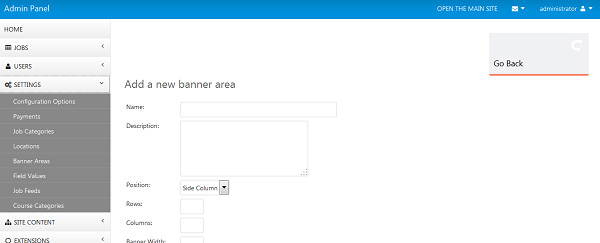 php script Improved banners functionality
