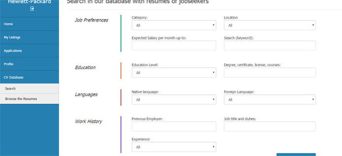searching in the cv database job site php script