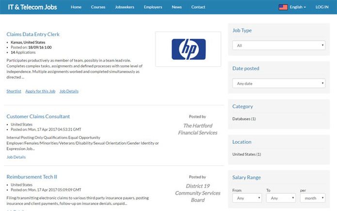 searching for jobs and showing the results job site php script