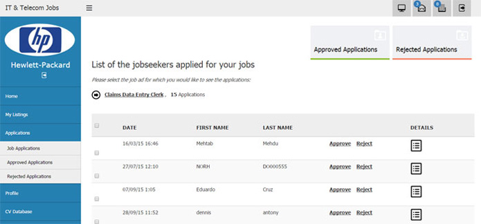 reject or approving the user job applications job site php script
