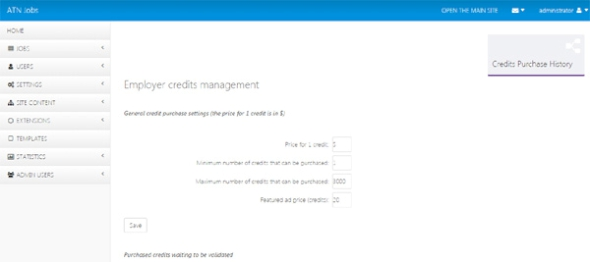 credits settings page job site php script