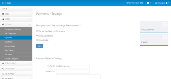 payment settings page in the administration panel job site php script