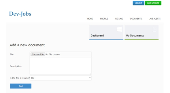 adding a new document in the job seeker admin panel  job site php script